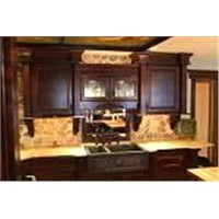 Solid Wood Kitchen Cabinets With Copper Sinks & Granite Counter Tops