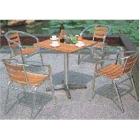 aluminum wood table and chairs