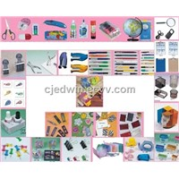 stationery, stapler, sharpener, punch, remover, cutter, scissors, glue, ruler, correction tape