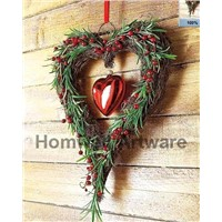 Rattan wreath heart HW090105