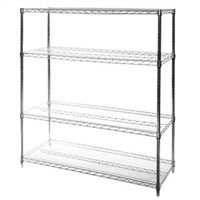"18"" Deep x 48"" Wide Chrome Wire Shelving Unit with Four Shelves"