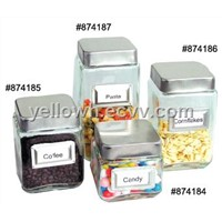 4pc/set Square Glass Storage Canister Jars w. Stainless Lids and Frame w. Food Name Cards