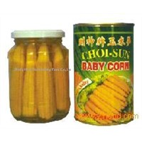 CANNED BABY CORN in glass jar and tin
