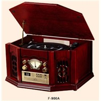 classical CD player in wooden