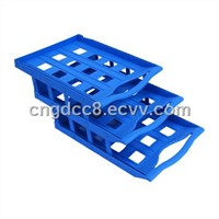 Folding style file tray with plastic button