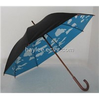 Blue Sky White Clouds Printing Straight Umbrella