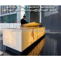 White Onyx Glass Backlit Countertop Reception Desk