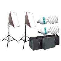Continuous Light Kit Soft Box with Light Source Florescent Bulb