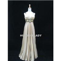 Golden Pleat Prom Dress