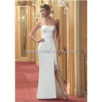 Exotic Column Strapless Sleeveless with Swarovski Crystal Informal Wedding Dress (Ifwd0068)