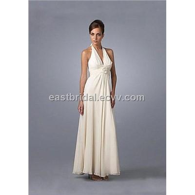 Donna Ricco White Silk Chiffon Halter Tea Length Wedding Dress STWD0006 Stwd