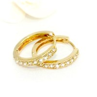 18k Hoop Crystal Earrings