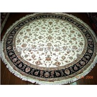 HAND KNOTTED SILK AND WOOL CARPETS ORIENTAL PERSIAN DESIGN, ROUND SIZE