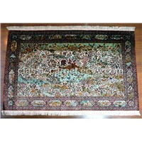 HAND KNOTTED SILK CARPET PERSIAN PARADISE DESIGN VERY FINE QUALITY AND HIGH ART VALUE
