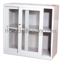 Steel Low Storage Cabinet with Double Sliding Doors