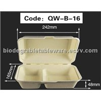 1000ml 2-comp clamshell biodegradable food container bagasse tableware disposable food packaging