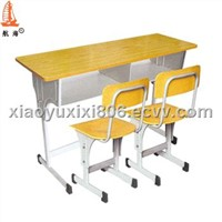 Double school desk and chairs