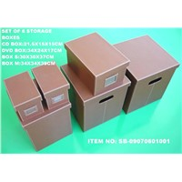 Set of 6 faux leather storage boxes