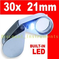 30x Magnifier Optical Glass Jeweler Loupe LED Light