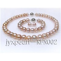 11-13.3mm Lavender Flat Freshwater Pearl Necklace Set