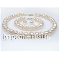 11-13mm White Flat Freshwater Pearl Necklace Set