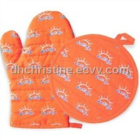Cotton Printed Kitchen Set, Includes Oven Mitts and Placemat, Customized Sizes are Accepted