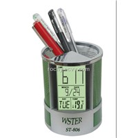 LCD Clock with Pen Holder (ST-806)