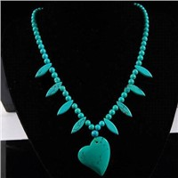 Natural Turquoise Heart Beads Necklace