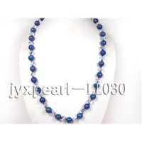 14mm Deep Blue Round Lapis-Lazulis with White Crystal Necklace