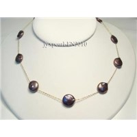 "18"" Black Coin Pearl Necklace with 14k Gold Chain"