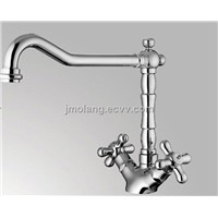 dual handle brass kitchen faucet