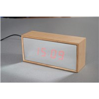 Wooden Led Mirror Clock