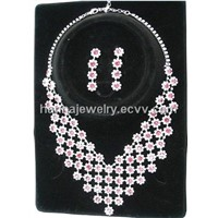 Wedding Bridal Crystal Necklace Earrings Jewelry Set 02