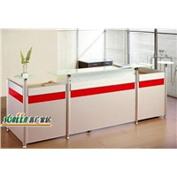 Modern wooden office reception desk