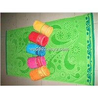 100% cotton double jacquard velour beach towel