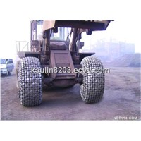 CAT966Tyre Protection Chains Working in Hot Slag