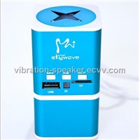 6w vibrating speaker for mobile phone,with FM radio and rechargeable batteries