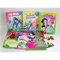 Colorful children book with puzzle