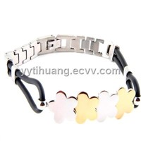316L Stainless Steel Bracelet with Black Rubber Band-Flower-Gold IP - 8.0""