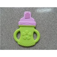 Food Grade Silicone Baby Teether, Double Colored, Feeding Bottle Shape
