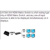 LKV344 4x4 3D HDMI Matrix Switch with Remote Control and RS232