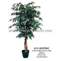 artificial tree green ficus tree 615-14G3T3D4'