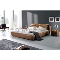 furniture softbed genuine leather bed fabric bed 8021