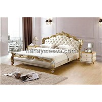 furniture softbed genuine leather bed fabric bed E883
