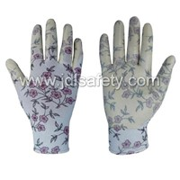 N1561:13Gauge printed ployester seamless gloves with white nitrile coated on palm