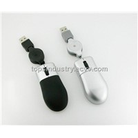 USB Mini 3D Optical Mouse with Retractable Cable