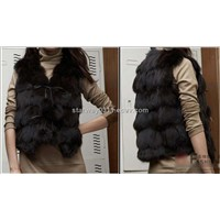 Women's Fox Fur Jacket Japanese & Korean Style (Z41) - Black