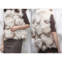 Women's Fox Fur Vest Fox Fur Coats Jacket Fox Legs Fur Japanese & Korean style Z18