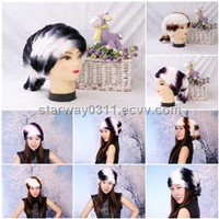 Women's Fur Hat Rex Rabbit Fur Hat Fur Cap Rex Rabbit Fur Headgear Fur Chapeau Gradien 3 Colors