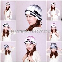 Women's Fur Hat Rex Rabbit Fur Hat Fur Cap Rex Rabbit Fur Headgear Fur Chapeau Gradien 4 Colors